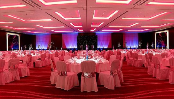 Park Plaza Westminster Bridge Christmas Party SE1 Inside of their ballroom with banqueting tables