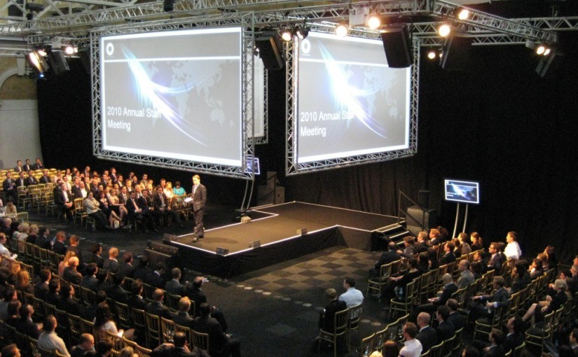 Old Billingsgate Venue Hire EC3, conference seating set up, large screens perfect for conferences, theatre style set up