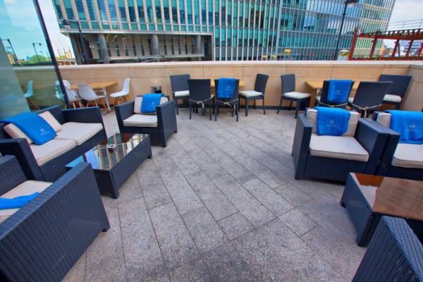 Rocket Canary Wharf Venue Hire E1 outside terrace with furniture