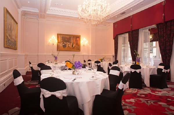 Amba Hotel Charing Cross Venue Hire WC2- Dining room set out banqueting style for a seated lunch