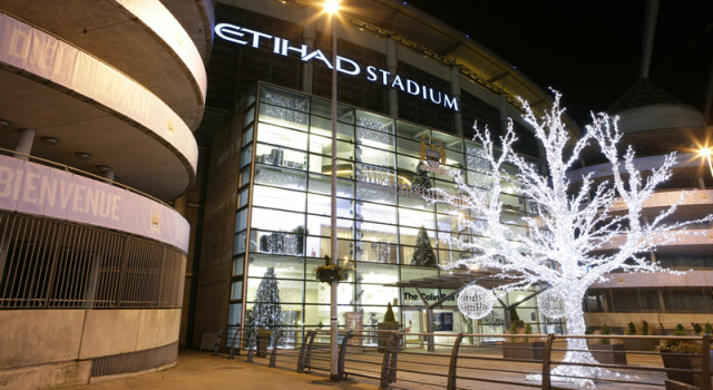 Outside view with Christmas tree at Manchester City Football Club Christmas Party M11