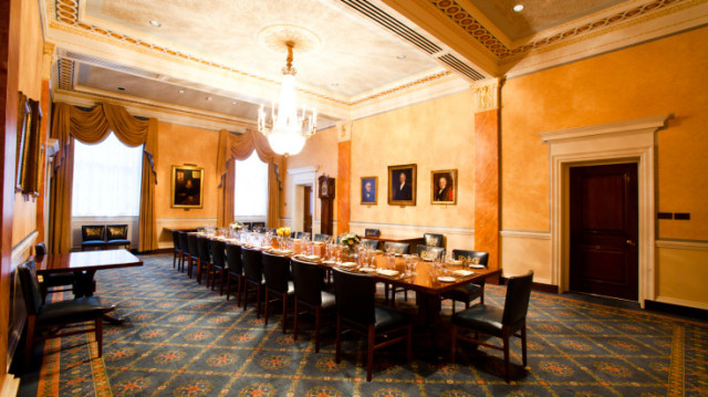 Court Luncheon room set up in boardroom style for a meeting at Clothworkers Hall Venue Hire EC3