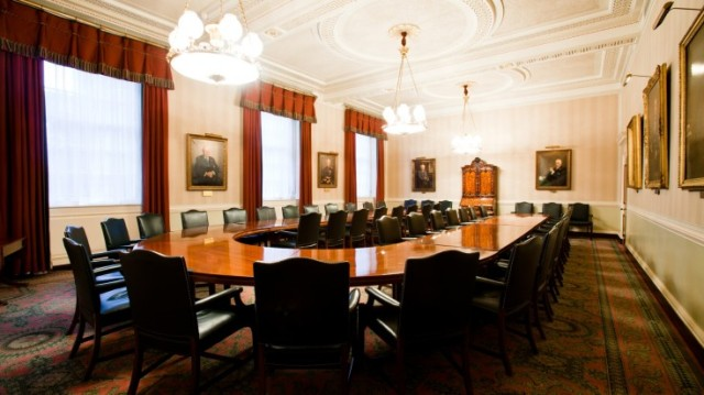 Court Room set up in a u-shape boardroom style for a meeting Clothworkers Hall Venue Hire EC3