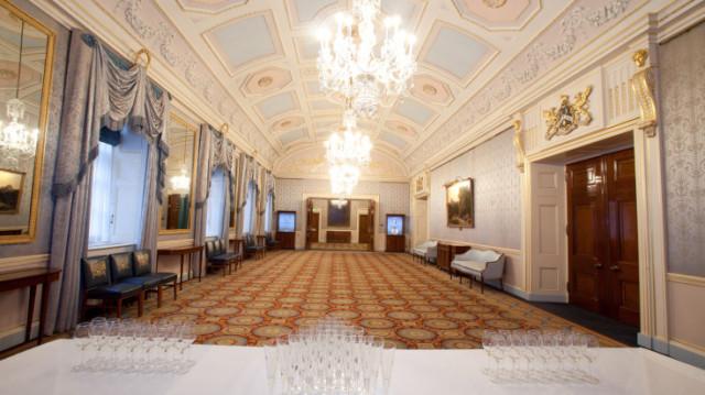 Reception Room set up for a drinks reception Clothworkers Hall Venue Hire EC3
