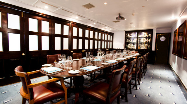 Claud Worth Room set up for a private dining event with natural daylight little Ship Club Venue Hire EC4