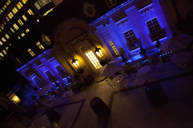 Dartmouth House Christmas Party Venue W1, Courtyard in the evening, stunning outside space lit up
