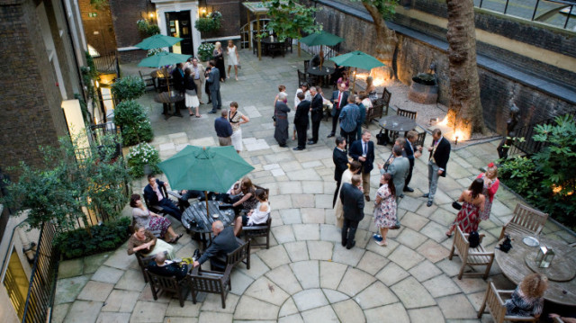 Summer drinks reception in the Courtyard In and Out Club Venue Hire SW1
