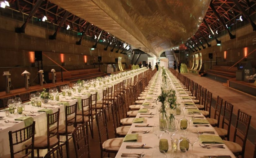 Cutty Sark Christmas Venue Hire SE10, dinner set up, boardroom styled seating, large capacities