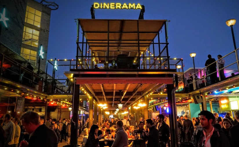 Exterior view with neon sign at the Dinerama Venue Hire EC2