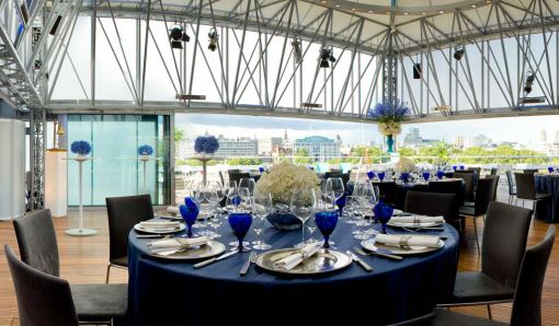 Deck Venue Hire London SE1, seated dinner set up, stunning views, natural daylight, semi open area
