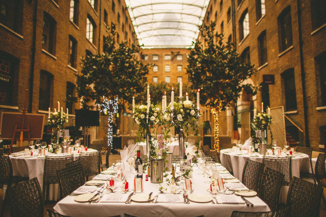 Devonshire Terrace Venue Hire EC2, outside space, table decorations, seated dinner in terrace
