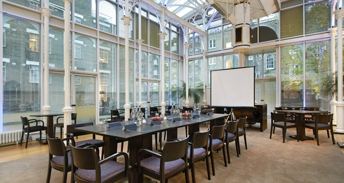 Hilton London Euston Venue Hire WC1, board room set up in a glass room
