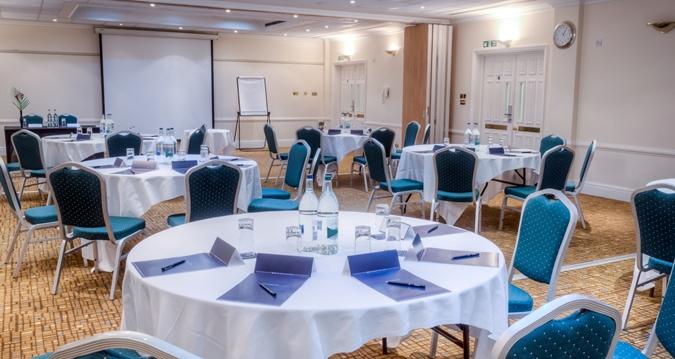 Hilton London Euston Venue Hire WC1, cabaret set up for a conference
