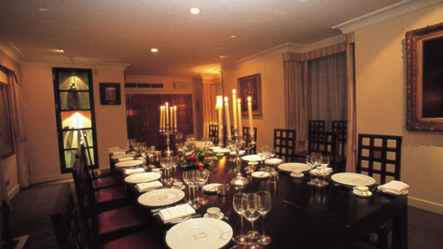 Parlour Room set up for a private dinner Founder's Hall Venue Hire EC1