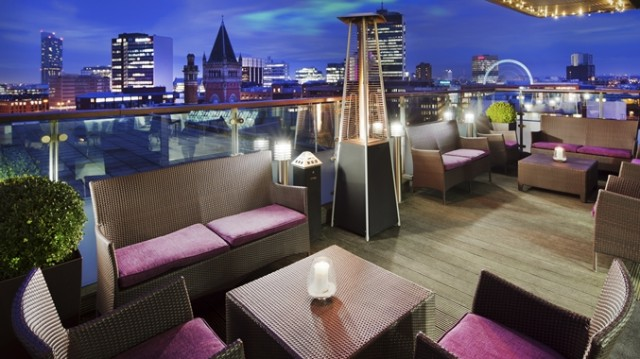 Double Tree Hilton Manchester Summer Party M1, sky lounge, outside space, roof terrace