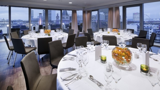 Double Tree Hilton Manchester Summer Party M1, seated dinner in sky lounge, views