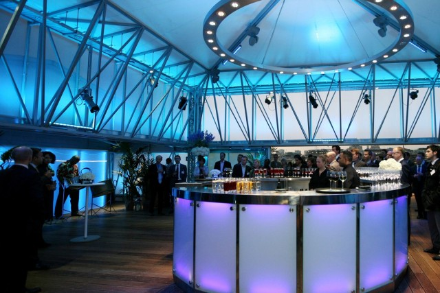 Deck Venue Hire London SE1, standing reception, high ceilings, colour wash