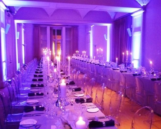 Kent House Knightsbridge Christmas Party SW7. Long tables set out for christmas dining.