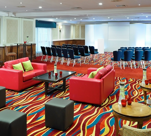 London Marriott Hotel Marble Arch Christmas Party W1- board room set out theatre style for a conference