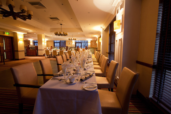 Liverpool Marriott Hotel City Centre Christmas Party L11 long dining table for guests to enjoy their christmas party