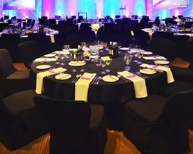 Radisson Blu Hotel Glasgow Christmas Party G2. Seated Dinner set up for Christmas Party