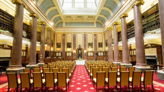 Reading Room theatre style layout with natural daylight from ceiling Law Society Venue Hire WC2