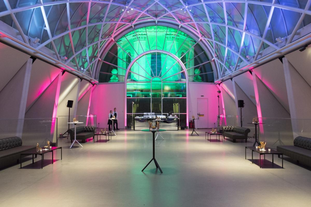 Imperial War Museum Venue Hire SE1, glass terrace set up for a reception