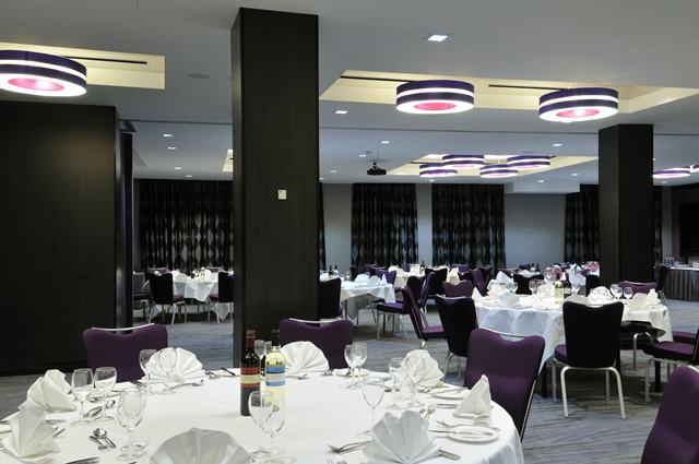 DoubleTree West End Christmas Party WC1, round tables, seated dinner set up