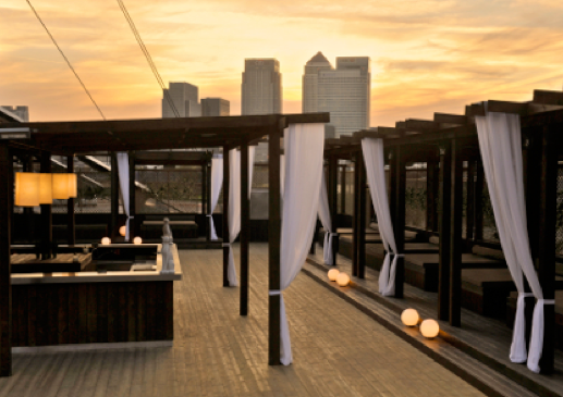 Building Six Venue Hire SE10, outside space, large seated area with views of canary wharf