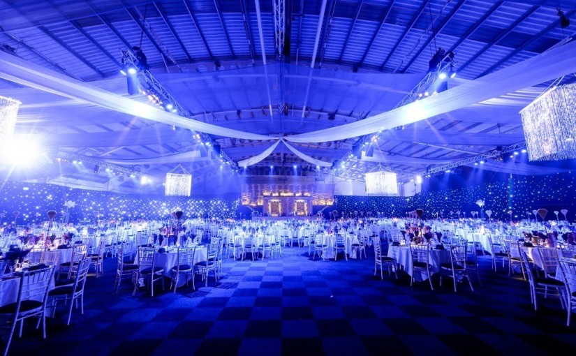 ICC Birmingham Christmas Party B1, large flexible event soace, seated dinner, draping
