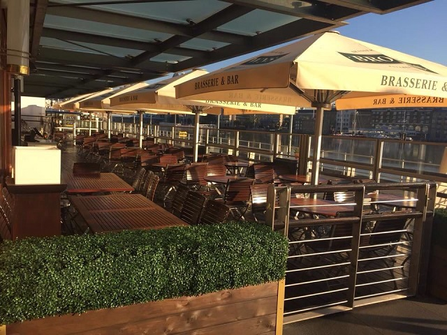 Browns Butlers Wharf Summer Party SE1. Outisde views with umbrellas and tabkes and chaurs for guests to sit and enjoy lunch.