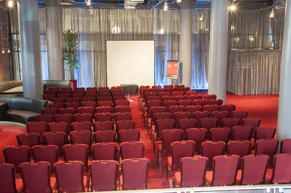 Pennine Suite set up for a large conference in theatre style The Place Aparthotel Venue Hire M1