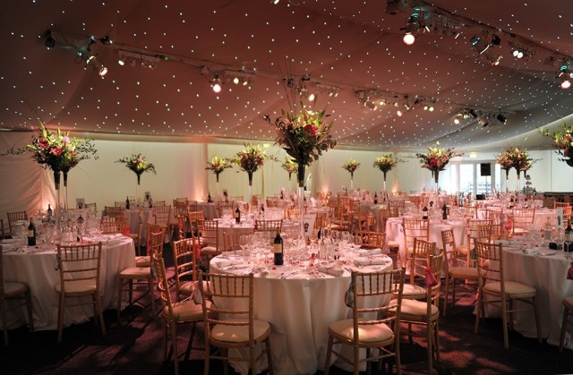 Conservatory at Painshill Shared Christmas Party KT11, large table centre pieces, ceiling lighting, marque