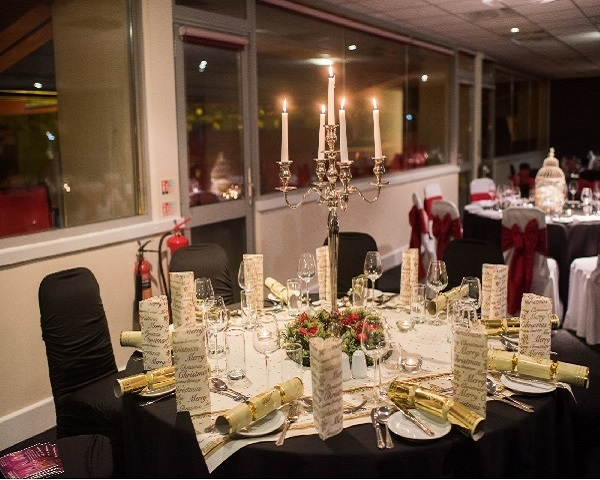 Charlton Athletic London Christmas Party SE7, venue set up for Christmas party