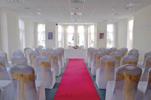 Cheadle House Venue Hire SK8, set up for a wedding with a red carpet