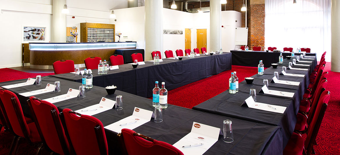Place Aparthotel Venue Hire Manchester M1, conference set up with black cloth