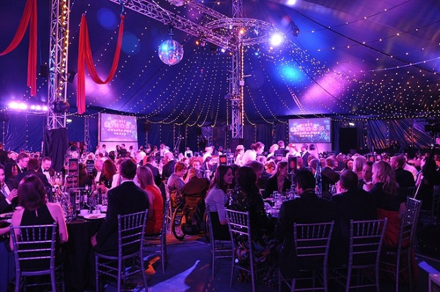 Bloomsbury Big Top Shared Christmas Party WC1, festive christmas party, large screens, draping