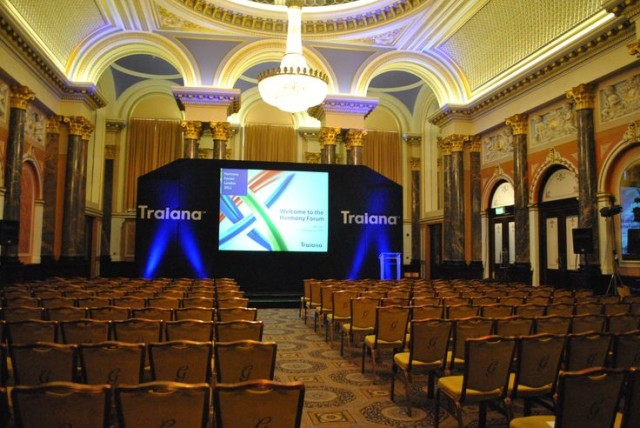Gibson Hall Venue Hire EC2, theatre style set up, large screen and microphone stand situated at the front,