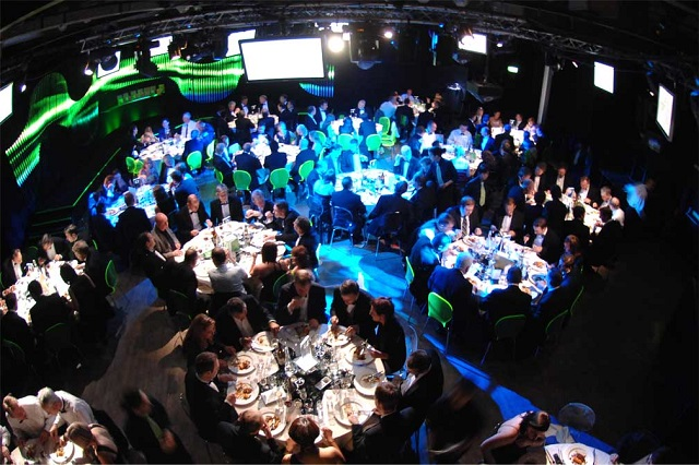 Ministry Of Sound Venue Hire SE1. conference, round tables set up with plasma infront. Ministry Of Sound Venue Hire SE1