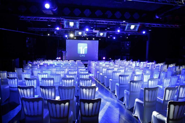 Theatre style conference, set up. Ministry Of Sound Venue Hire SE1