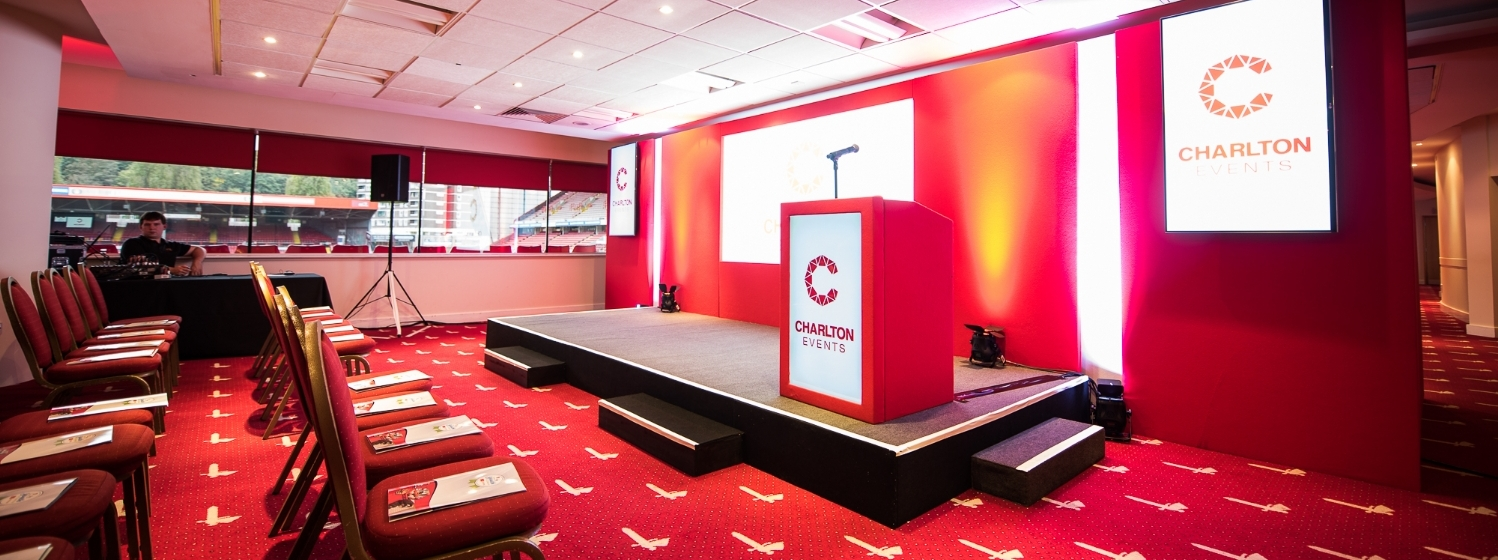 Charlton Athletic London Venue Hire SE7, conference set up with red furnishing