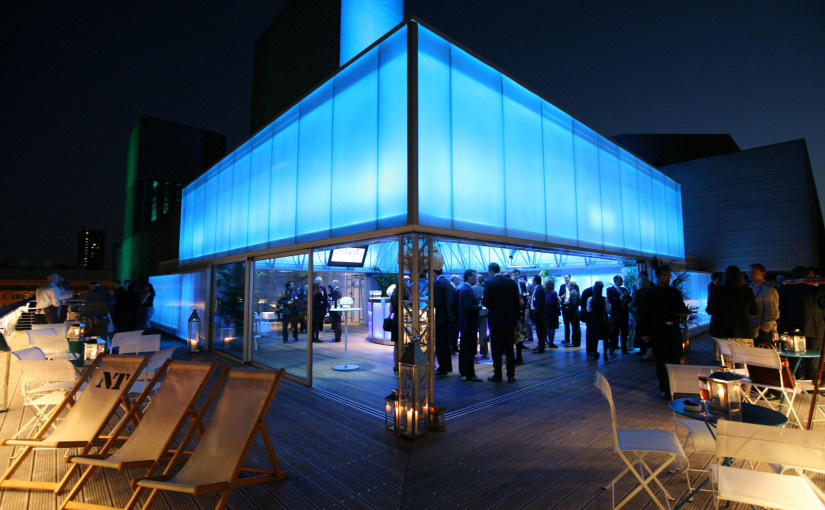 Deck Christmas Party London SE1, outside area, deck chairs, blue colour wash, natural daylight, floor length windows