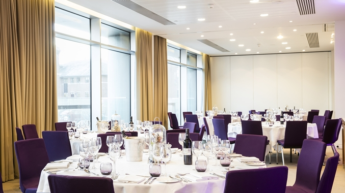 Doubltree By Hilton Leeds Venue Hire LS1, privat dining with purple chairs