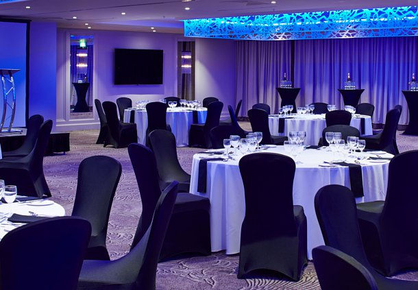 Dalmahoy Hotel and Country Club Venue Hire EH27 event space, colour wash, seated dinner