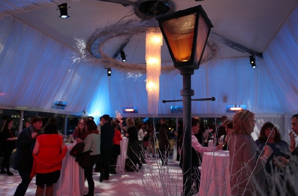 Deck Christmas Party London SE1, winter wonderland theme, white draping, festive decorations, high ceilings