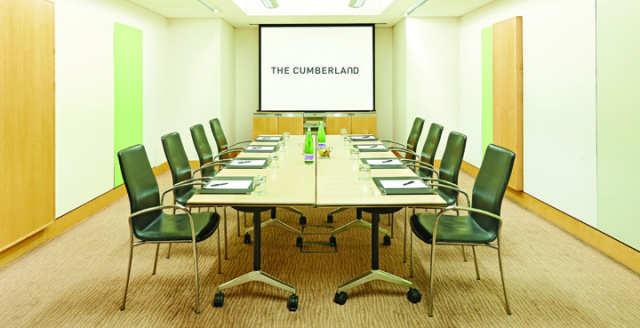 Cumberland Hotel Venue Hire W1, meeting room ,boardroom set up, large screen