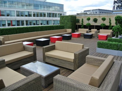 Grand Connaught Rooms Venue Hire WC2, terrace with cushions