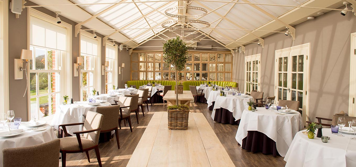 Chewton Glen Hotel Christmas Party BH2, conservatory set up for private dining
