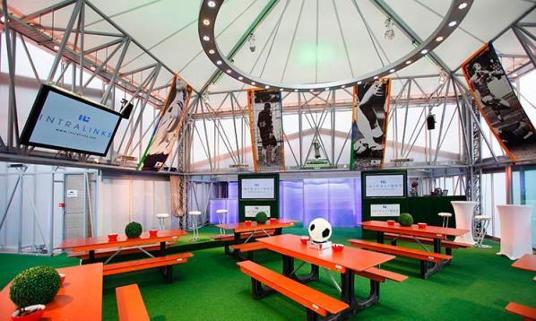 Deck Summer Party Venue London SE1, themed set up, benches, astro - turf, screens, poseur tables