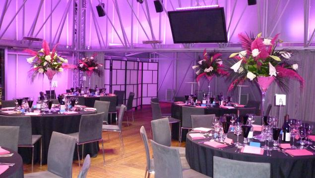 Deck Christmas Party London SE1, seated dinner, large centre pieces, screens and av